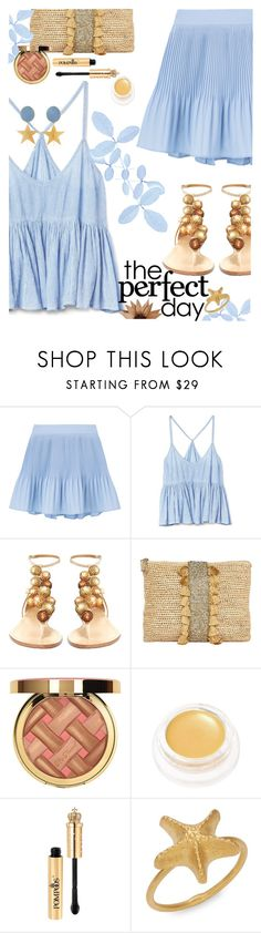 """Everyday of summer is the perfect day!"" by juliehooper ❤ liked on Polyvore featuring Gap, Aquazzura, Frontgate, rms beauty, Valentino, Silhouette, gold, Blue, straw and polyvoreeditorial"