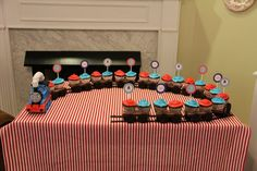 Thomas The Train Party/ Cupcake Train - for Sawyer Thomas Birthday Parties, Thomas The Train Birthday Party, Trains Birthday Party, Train Party, Birthday Fun, Birthday Party Themes, Thomas Train Birthday Cake, Birthday Ideas, Third Birthday