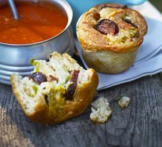 Bake these comforting bread rolls in a muffin tin - they're filled with cheddar, bangers, spring onions and garlic butter
