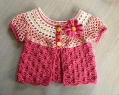 Crochet Pattern for Baby Cardigan Sweater, Sunburst Cardigan PDF 12-101 INSTANT DOWNLOAD