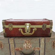 """Small Mid-Century Metal Sided Suitcase """"Nicely Distressed"""" by leapinglemming on Etsy"""