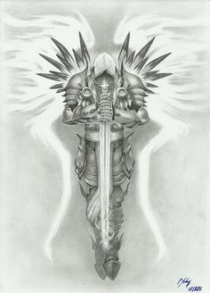 Tyrael - by grace of god by LeyuArt.Gods Grace is Sufficient.Never insufficient funding! Tattoo Sketches, Tattoo Drawings, Body Art Tattoos, Sleeve Tattoos, Wing Tattoos, Tatoos, Archangel Michael Tattoo, St Michael Tattoo, Tattoo Homme
