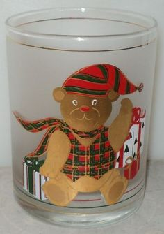 Culver Christmas Bear Gold Frosted High Ball Glass  ~ This Item is for sale at LB General Store http://stores.ebay.com/LB-General-Store ~Free Domestic Shipping ~