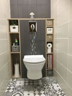 Guest bathroom with toilet closet makeover 24 Modern Bathroom Design, Bathroom Interior, Bathroom Designs, Bathroom Storage, Bathroom Grey, Budget Bathroom, Modern Toilet Design, Office Bathroom, Toilet Storage