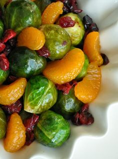 Cranberry Clementine Brussels Sprouts with Blood Orange Brown Sugar Glaze (or use agave) >> Side Dishes, Sauces/Salsas <<