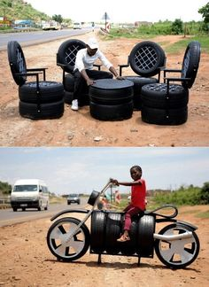 Former Mineworker Creates Recycled Tire Furniture Former mineworker artistically recycles old tires into furniture Tire Furniture, Garage Furniture, Automotive Furniture, Recycled Furniture, Furniture Ideas, Tire Craft, Tire Garden, Reuse Old Tires, Tire Chairs