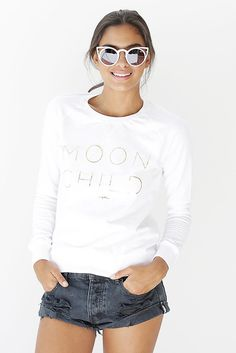 Moon Child Shrunken Sweatshirt White