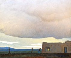 """Maynard Dixon (1875-1946) Late Afternoon, 1940  Oil on Canvas Board, 16"""" x 20"""", Private Collection"""