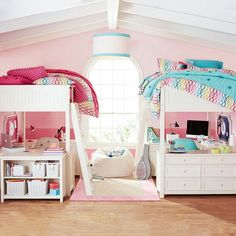How To Update Your Space for Fall Twin girl bedrooms, Girls bedroom, Loft room Twins Room, Shared Bedrooms, Shared Girls Room, Cool Rooms, Dream Bedroom, Bedroom Design, Shared Room, Loft Room, Dream Rooms