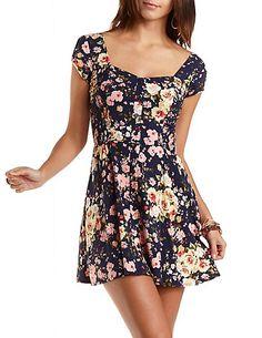 Floral Print Skater Dress  #charlotterusse #charlottelook