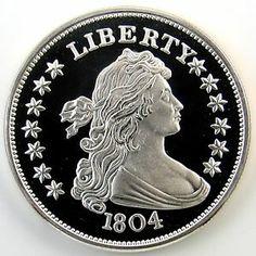 1804 Silver Dollar | 1804 Liberty Silver Dollar Copy 2OZT 999 Fine Silver Round WC PS TX ...