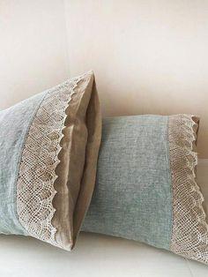 Linen lace PILLOW COVER from washed melange and natural flax linen, pillow sham, pillowslip – standard Queen King body pillowcases – Wasche falten Sewing Pillows, Diy Pillows, Linen Pillows, Decorative Pillows, Bed Linens, Beige Bed Linen, Linen Duvet, Body Pillow Covers, Pillow Cases