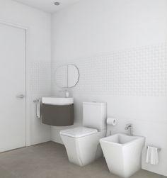 Baño diseñado por Fábrica de Arquitectura para una vivienda unifamiliar en una urbanización de Carmona (Sevilla). Tanto los materiales como los aparatos sanitarios son de Porcelanosa. Toilet, Bathtub, Bathroom, Gadgets, Sevilla, Architecture, Interiors, Standing Bath, Bath Room