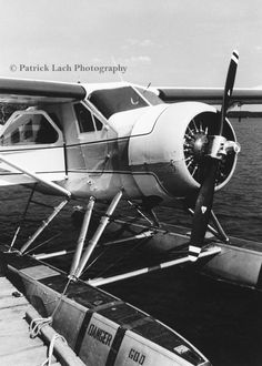 Docked de Havilland Beaver Float Plane - Black and White Photo
