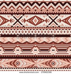 Vector Seamless Tribal Pattern in Brown Colors. Geometrical Ethnic Ornament with Triangles, Rhombus and Stripes. Rough Edges Style Background