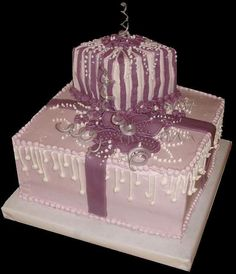Purple  and Mauve Wedding Cake with  Piping, Curling Bows, Pearls and more   ~ all edible