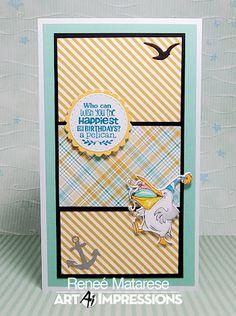 Art Impressions Blog: Pelicans! by Reneé Matarese Art Impressions, Gull, Swing Card, Funny Farm, Friends Set, Make Me Smile, Blog, Birthdays, Card Making
