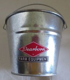 NEW FORD DEARBORN FARM EQUIPMENT LOGO GALVANIZED PAIL LOGO USED FROM 1947-1962