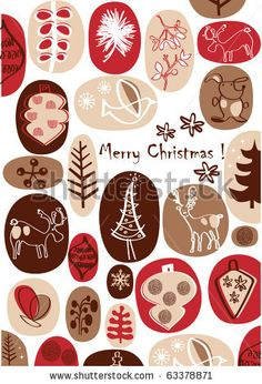 stock vector : vector - christmas card with nice hand drawings