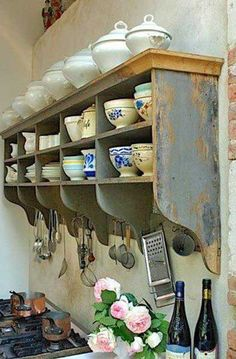 Do something like this on feature wall for tea tins, tea cups, and tea pots. ~ Dishfunctional Designs: The Bohemian Kitchen Do something like this on feature wall for tea tins, tea cups, and tea pots. ~ Dishfunctional Designs: The Bohemian Kitchen French Kitchen, New Kitchen, Kitchen Ideas, Design Kitchen, Kitchen Inspiration, Kitchen Tips, 10x10 Kitchen, Kitchen Retro, Cozy Kitchen