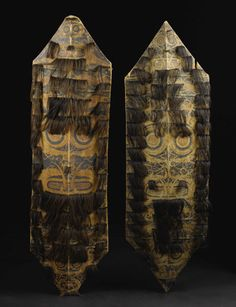 Kenyah/Kayan Dayak (Kalimantan) Two Shields pigment, hair Height: 46 inches Width: 14 - Available at 2007 June African & Oceanic Art. Ocean Art, Borneo, Tribal Art, Sword, Auction, African, Culture, Painting, Museums