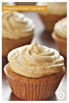 Pineapple, applesauce, a bit of ginger and whey protein make these cupcakes beyond ordinary.