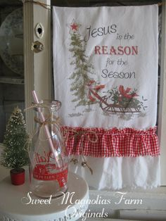 "Christmas Flour Sack Kitchen Towel .""Jesus is the Reason for the Season"" ...for your Home, Farmhouse or Cottage. $18.25, via Etsy."