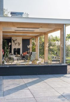Schuurwoning Hardenberg-18(1) Home Garden Design, Patio Design, Outdoor Spaces, Indoor Outdoor, Outdoor Decor, Outside Living, Outdoor Living, Cozy Patio, Small Modern Home