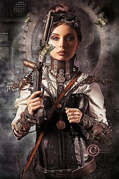 Find Portrait Beautiful Steampunk Woman Holding Gun stock images in HD and millions of other royalty-free stock photos, illustrations and vectors in the Shutterstock collection. Costume Steampunk, Steampunk Images, Steampunk Artwork, Mode Steampunk, Style Steampunk, Gothic Steampunk, Steampunk Clothing, Steampunk Fashion, Victorian Gothic