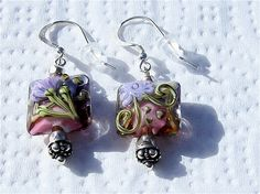 Lampwork Earrings Hot Pink Centers with Purple by EclecticDesigns, $28.00