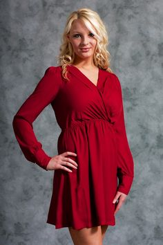 Long Sleeve Wrap Dress #May23Online $48.00