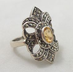 Estate Sterling Silver Sparkling Marcasites & Citrine Ring from riverroadcollectibles on Ruby Lane