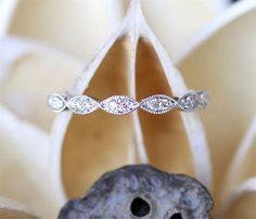 Art Deco Style Milgrain Diamond Wedding Band,Full Eternity Pave Diamonds Wedding Ring, Dainty Diamond Ring 14K White Gold Match Ring