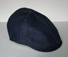 Denim 6Panel Handmade Flat Cap Driving Cap for Men in by Sookie, $78.00