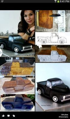 Old school truck cake. Car by Verusca Walker Cake Decorating Techniques, Cake Decorating Tutorials, Fondant Cakes, Cupcake Cakes, Cake Structure, Truck Cakes, Car Cakes, Decoration Patisserie, Sculpted Cakes