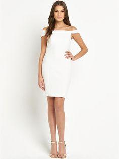 Lipsy Michelle Keegan Textured Bardot Dress | very.co.uk