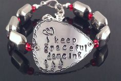 Hand stamped guitar pick bracelet keep by QuietMindDesigns on Etsy, $22.00
