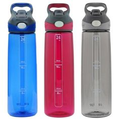 Contigo Autospout Addison Water Bottle, 24oz - Monaco, Sangria & Smoke (Grey) (3 Pack)