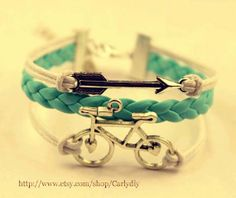 ancient silver arrow and bicycle charm bracelet mint by Carlydiy, $3.99