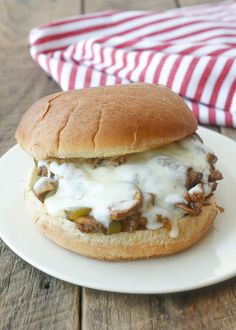Philly Cheesesteak Sloppy Joes are a quick and easy dinner that's a far cry from the average sloppy joe! get the recipe at barefeetinthekitchen.com