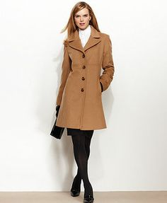 Love this in Dark Camel- Larry Levine Coat, Wool-Blend Classic Walker