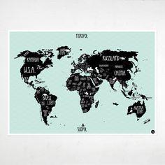 A1 Poster World map mint green por AmyandKurtBerlin en Etsy
