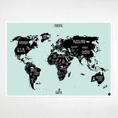 A1 Poster World map mint green por AmyandKurtBerlin en Etsy