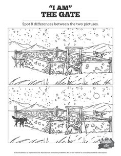 John 10 I am the Door Kids Spot The Difference: Can your kids spot the differences between these two I am the Door illustrations? Featuring gorgeous artwork from John this printable Kids Bible activity is perfect for your upcoming I am the Door Sunday Kids Sunday School Lessons, Sunday School Activities, Sunday School Crafts, Lessons For Kids, Bible Lessons, School Ideas, Bible Activities For Kids, Bible Study For Kids, Kids Bible