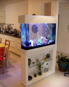 Splendid DIY Aquarium Furniture Ideas To beautify Your Home – CueThat diy aquarium furniture stands are an integral part of every aquatic system. The aquarium stand should be sturdy so that it can bear the weight of a filled a. Aquarium Design, Wall Aquarium, Home Aquarium, Aquarium Setup, Aquarium Stand, Aquarium Ideas, Living Room Partition Design, Room Partition Designs, Partition Ideas