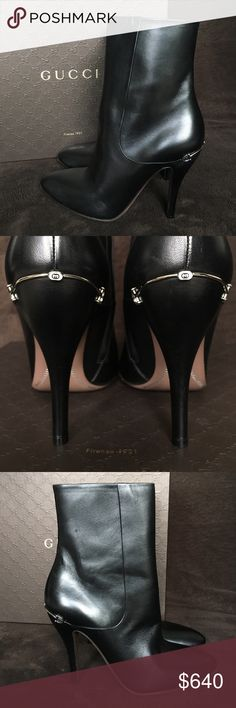 "GUCCI Charlotte Leather Ankle Boots 100 Authentic New GUCCI Charlotte Black Leather Zipper Detail Ankle Boots  Smooth leather upper Rounded toe shape  Concealed side zipper with stitched detail Leather lining Leather sole 4.5"" stiletto heel with silver double g wire detail Shaft measures 6½'' tall and 11'' around widest point Made in Italy  Purchased from Saks Fifth Avenue store. Boots might have minor scuffs, and the bottoms of the soles have tiny marks from when tried on in the store…"