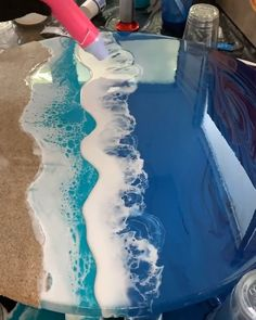 Stunning ocean waves! Epoxy resin pigment/dye is available on Amazon with 10-20% OFF code:DECORROM. Follow us for more daily inspiration. All credit to 'resindiva'