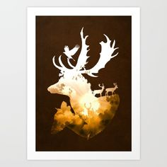 Deer Autumn, by Diogo Veríssimo #designstudio #dverissimo #stag #deer #antlers #fall #season #autumn #nature #digital #illustration #silhouette #sun #forest #woods #wild #scenic #forest