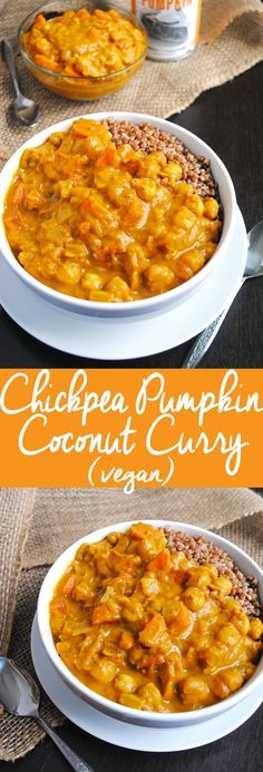 Vegan Chickpea Pumpkin Coconut Curry (Vegan Pumpkin Recipes) - Curry is the type of dish, that will fill me up, just by looking at it. It's always such a satisfying meal. It's even better, when you put chickpeas in it, given the high fiber content will really make you feel full.