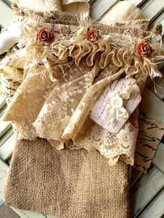 Burlap Embellished Bag.  This was for sale on the site but no longer available, but I love the pin for Pinspiration!